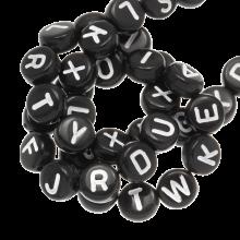 Perles Alphabet En Acrylique Mélange (7 x 4 mm) Black (400 pièces)