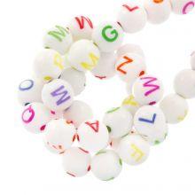 Perles Alphabet En Acrylique Mélange (7 x 8 mm) White / Mix Color (200 pièces)