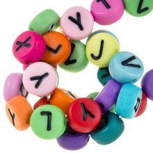 Perles Alphabet En Acrylique Mélange (7 x 4 mm) Mix Color (230 pièces)
