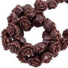 Perles Rose En Résine (6 x 4 mm) Log Brown (40 pièces)