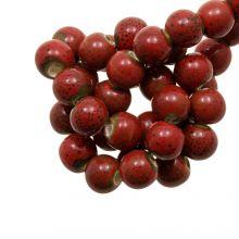 Perles en Céramique (6 mm) Spotted Red (15 pièces)