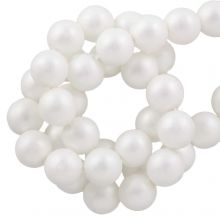Perles en Verre Cirées DQ (8 mm) White Matt (75 pièces)