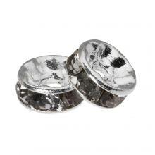 Rondelles Avec Strass (6 x 3 mm) Grey (10 pièces)