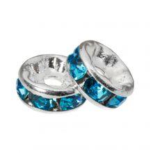 Rondelles Avec Strass (6 x 3 mm) Blue (10 pièces)