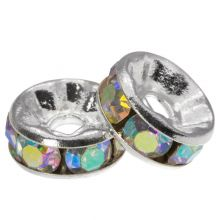 Rondelles Avec Strass (8 x 4 mm) Crystal Shine (10 pièces)