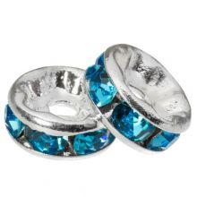Rondelles Avec Strass (8 x 4 mm) Blue (10 pièces)