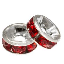 Rondelles Avec Strass (6 x 3 mm) Red (10 pièces)