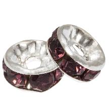 Rondelles Avec Strass (8x4 mm) Purple (10 pièces)