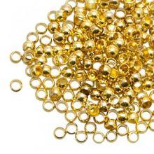 Perles à Écraser (Diamètre intérieur 3 mm) Or (100 pièces)
