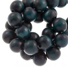 perles en bois petrol bleu coulour intense 16 mm