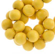 perles en bois jaune coulour intense look 16 mm