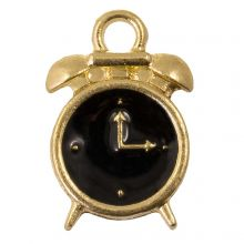 Breloque Émaillée Horloge (16 x 10 x 3.5 mm) Black (5 pièces)