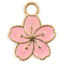 Breloque Émaillée Fleur (14.5 x 12 x 1.5 mm) Pink (5 pièces)