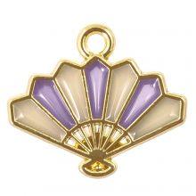 Breloque Émaillée Éventail (17 x 15 x 1.5 mm) Purple (5 pièces)