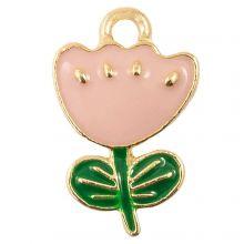 Breloque Émaillée Fleur (19 x 12 x 2.5 mm) Soft Pink (5 pièces)