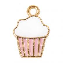Breloque Émaillée Cupcake (16 x 11 x 2 mm) Pink (5 pièces)
