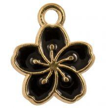 Breloque Émaillée Fleur (14.5 x 12 x 1.5 mm) Black (5 pièces)