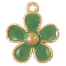 Breloque Émaillée Fleur (21 x 18 x 3 mm) Sage Green (5 pièces)