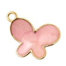 Breloque Émaillée Papillon (17 x 13 x 3 mm) Pink (5 pièces)