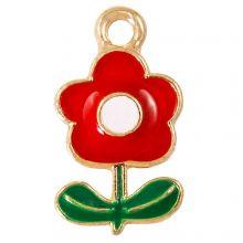 Breloque Émaillée Fleur (19 x 11 x 2.5 mm) Red (5 pièces)