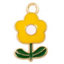 Breloque Émaillée Fleur (19 x 11 x 2.5 mm) Yellow (5 pièces)