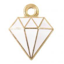 Breloque Émaillée Diamant (15 x 11 x 2.5 mm) White (5 pièces)