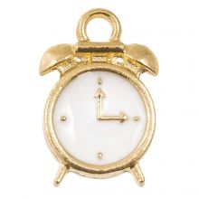 Breloque Émaillée Horloge (16 x 10 x 3.5 mm) White (5 pièces)