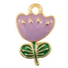 Breloque Émaillée Fleur (19 x 12 x 2.5 mm) Purple (5 pièces)