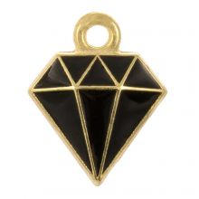 Breloque Émaillée Diamant (15 x 11 x 2.5 mm) Black (5 pièces)