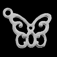 Acier inoxydable Breloque Papillon (13 x 11 mm) Argent Antique (4 pièces)