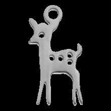 Acier inoxydable Breloque Cerf (15 x 8 mm) Argent Antique (4 pièces)