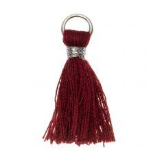 Pompon imitation Coton (25 mm) Red Rose / Argent (10 pièces)