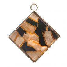 Pendentif Acrylique (29 x 26 x 4 mm) Orange Fire (3 pièces)