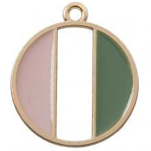 Pendentif Émaillé (26 x 23 mm) Pink Green (5 pièces)