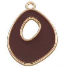 Pendentif Émaillé  (27 x 20 mm) Coconut Brown (5 pièces)