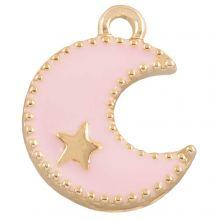 Breloque Émaillée Lune (18 x 13 mm) Pink (10 pièces)