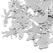 Breloques Acier Inoxydable (tailles variées) Argent Antique (40 pièces)