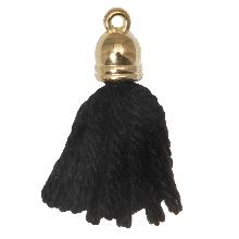 Pompon imitation (20 mm) Black / Or (5 pièces)