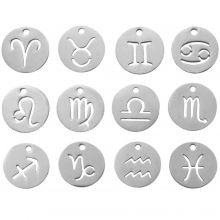 Acier Inoxydable Breloque Signe du Zodiaque (12 mm) Argent Antique (12 pièces)