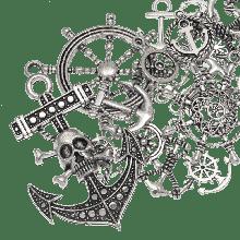 Breloques Ancre (tailles variées) Argent Antique (60 pièces)