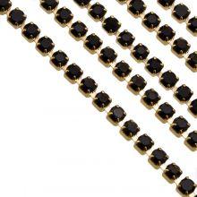 Chaîne Strass en Acier Inoxydable (2 mm) Black / Or (2 mètres)