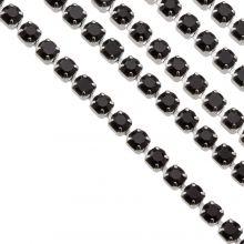 Chaîne Strass en Acier Inoxydable (2 mm) Black / Argent Antique (2 mètres)
