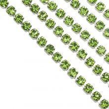 Chaîne Strass en Acier Inoxydable (2 mm) Green / Argent Antique (2 mètres)