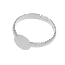 Bague Ajustable En Acier Inoxydable (Plateau 12 mm) Argent (5 pièces)