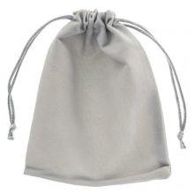 Sachet à bijoux en velours (15 x 12 cm) Grey (5 pcs)