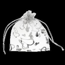 Sachet Organza (13 x 18 cm) White & Silver (25 pièces)