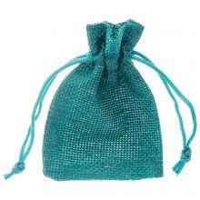 Sachets à bijoux en jute (9 x 7 cm) Turquoise (10 pièces)
