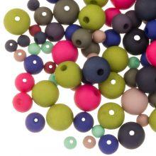 Mélange de Perles Acryliques Mat (4 - 6 - 8 mm) Mix Color (50 grammes)