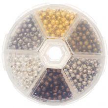 Assortiment de Perles en Métal (4 mm) Mix Couleur (940 pièces)
