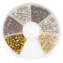 Assortiment de Perles Cœurs en Métal (4 x 3 mm) Mix Couleur (700 pièces)